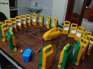A multiple charger for solar lamps Photo credits: Global Telelinks/Prakruthi