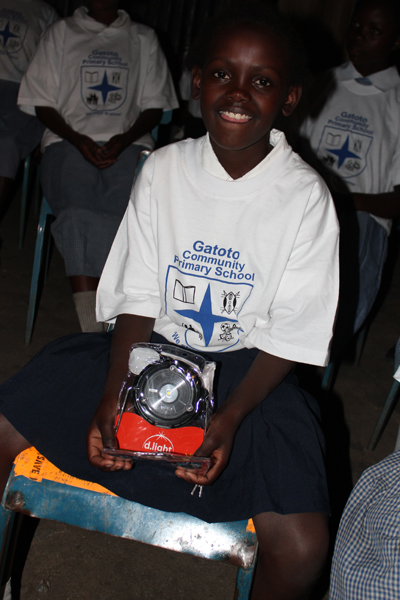 One of the candidates at Gatoto Primary School who benefited from solar lanterns donated by UK school children. credits: d.light