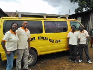 The SunnyMoney team takes a break during a sales drives © SolarAid