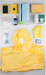 Contents of ebola health and prevention kits distributed in Liberia, including a WakaWaka solar light